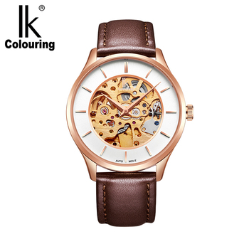 IK Colouring Male Wristwatch Stainless Steel 5ATM Water Resistance Mechanical Skeleton Steampunk Genuine Leather Automatic Watch