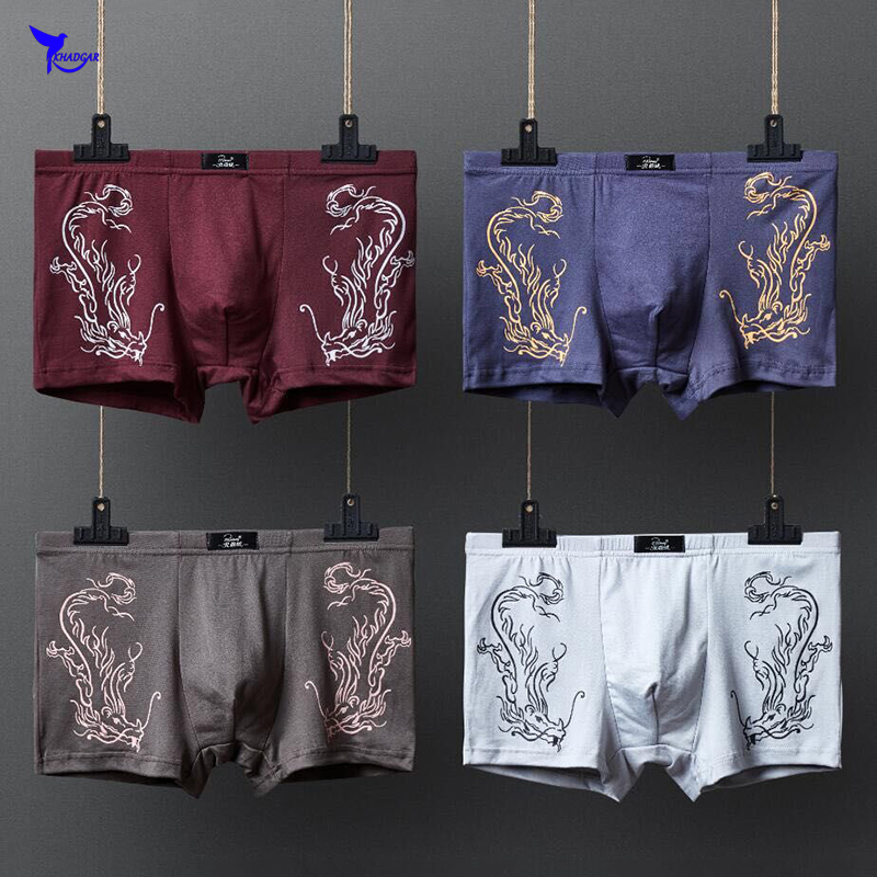 Gift Box 4PCS/lot Top Quality Boxers Printed Cotton Underwear Male Comfortable Breathable Boxer Shorts Mens Panties Underpants