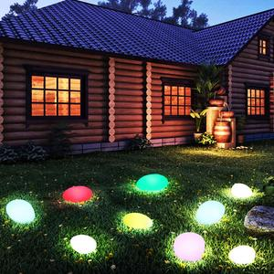 Image 2 - Solar Lights Outdoor, Glow Cobble Stone Shape Solar Garden Light Waterproof Color Changing Landscape Lights with Remote Control