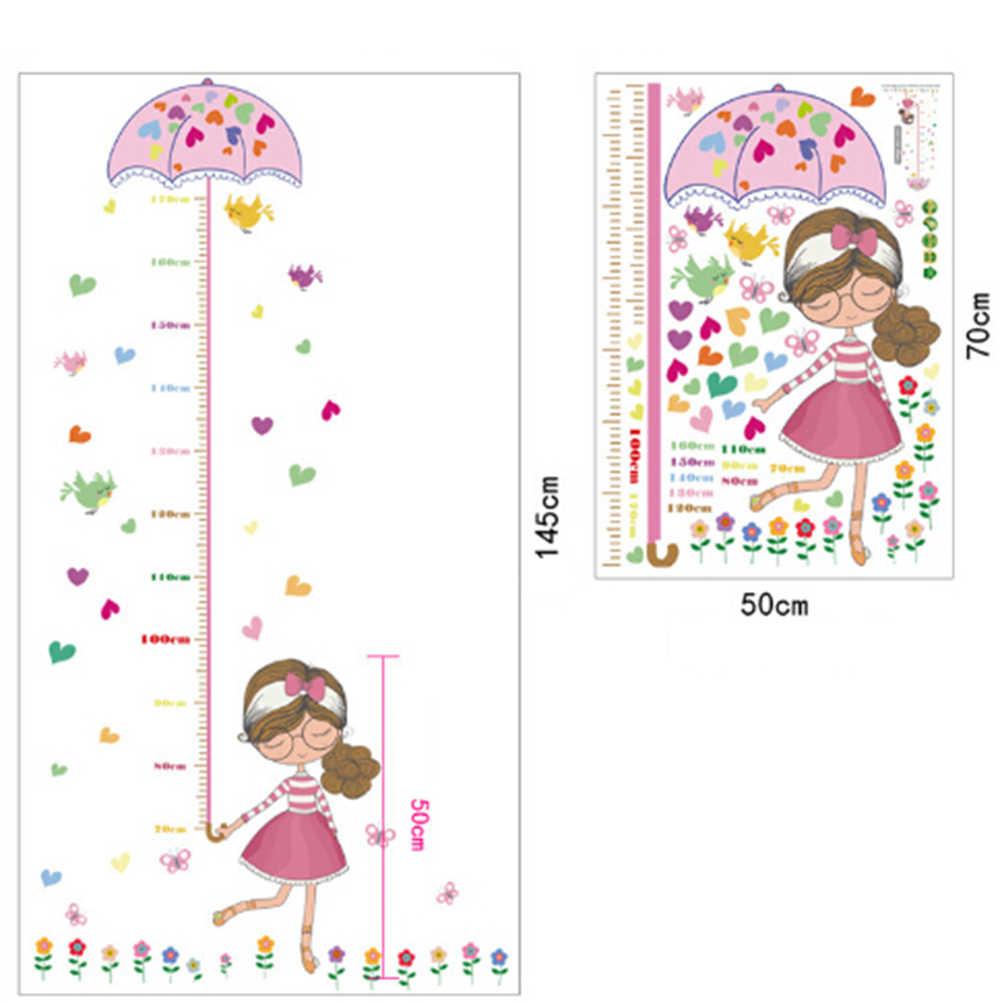 50x70 cm Kız Şemsiye duvar kağıdı Tedbir Yükseklik duvar çıkartmaları çıkartması çocuk yapışkanlı vinil duvar bebek kız erkek odası kreş dekor