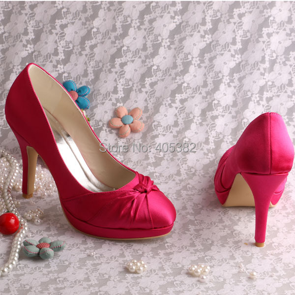 d982cf159be5 Wedopus Custom Heel Dark Red Color Satin Wedding Bridal Shoes for Women  High Heels Size 6 -in Women s Pumps from Shoes on Aliexpress.com