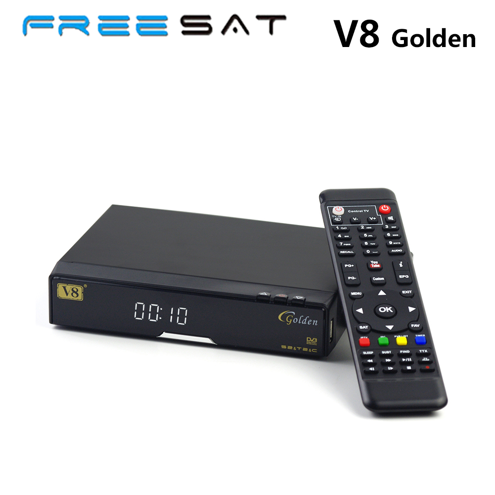 Genuine Freesat V8 Golden  DVB-S2  T2 Satellite TV Combo Receiver Support PowerVu Biss Key Cccamd Newcamd USB Wifi SZ freesat v7 combo wifi support dvb t2 s2 brand new satellite receiver twin tuner dvb s2 dvb t2 support cccam newcam free shipping