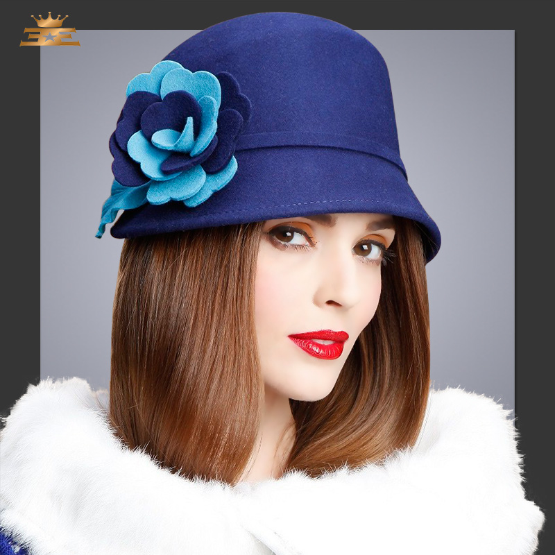 Autumn Winter 100% Wool Fedoras Hat Lady Protect Ear Warm Flower Woolen Cap Floppy Girls ...
