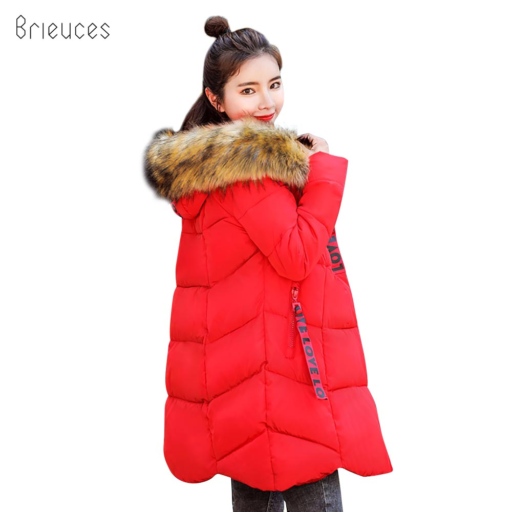 Brieuces 2018 hooded plus size 3XL long women winter jacket fur collar warm thicken   parkas   cotton padded women winter coat