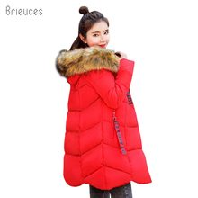 Brieuces 2018 hooded plus size 3XL long women winter jacket fur collar warm thicken parkas cotton padded women winter coat цена