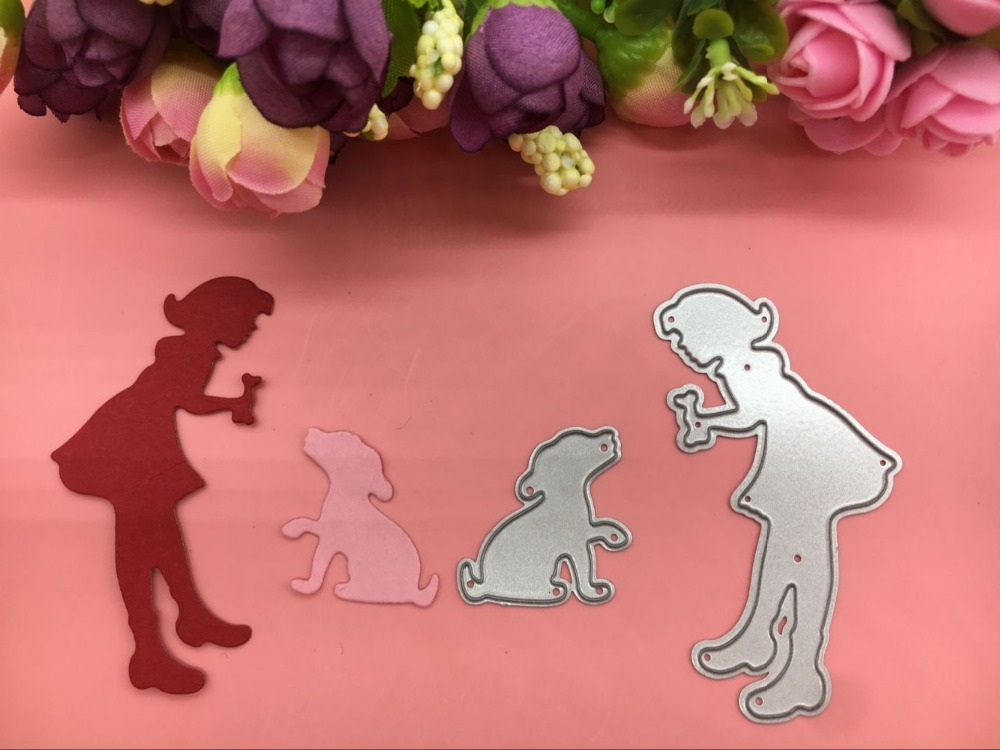 baby girl dog bone friend play METAL CUTTING DIES Scrapbook card album paper craft home decoration embossing stencil cutter image