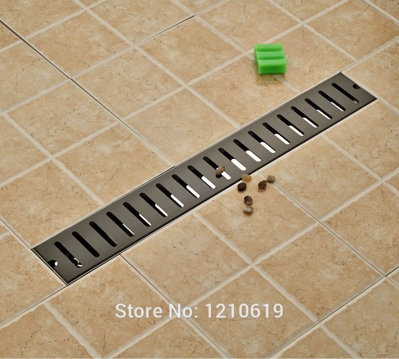 Newly 70*10cm Oil Rubbed Bronze Floor Drain Shower Strainer Bathroom Balcony Floor Filler Rectangle Black modern 90 10 cm oil rubbed bronze style deodorization grate waste floor drain floor mounted