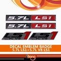 2x Red Black Chrome 5.7L LS1 Metal Adhesive Sticker +2x 5.7L LS1 V8 Emblem Badge