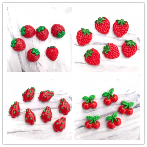 10pcs/lot Flat Back Resin  Simulation Of Fruit Strawberry Cherry DIY Resin Cabochons Accessories