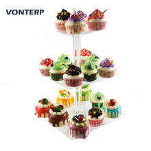 VONTERP 1 PC transparent square 3 Tier Acrylic Cupcake Stand acrylic cake holder with base (6 between 2 layers)