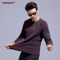 GustOmerD 2017 New Autumn Winter O Neck Warm Rabbit Fur Sweater Men Patchwork Knitting Slim Mens