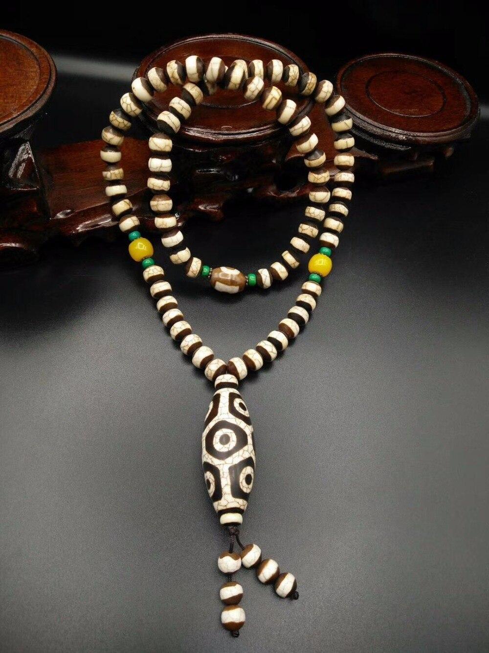 Rare Vecchio Tibet Naturale Agata Bianca Drago Vena Dzi Tallone amuleto Tartaruga Indietro 9 Occhi Pendente Della Collana Amulet Voce Grande qualità