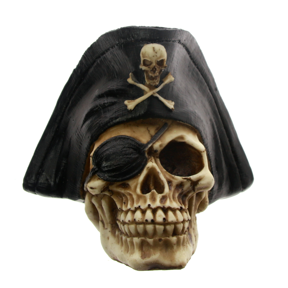 1Piece Caribbean Pirate Captain Skull Figurine Statue Skeleton with Pirate Hat Eyepatch Buccaneer Sculpture Spooky Badass Decor