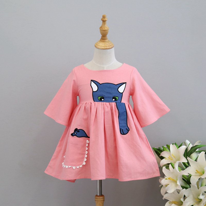 Spring Summer Dress 2017 Fashion Cat Mouse Cartoon Embroidery Dress New Children's Clothing Girls Baby Girl Dress Kids Clothes