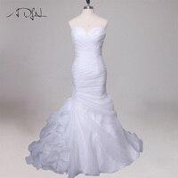ADLN Custom Organza Mermaid Wedding Dress Ruffles Sweetheart Sleeveless Pleats Bridal Gowns Vestido De Novia Cheap Design
