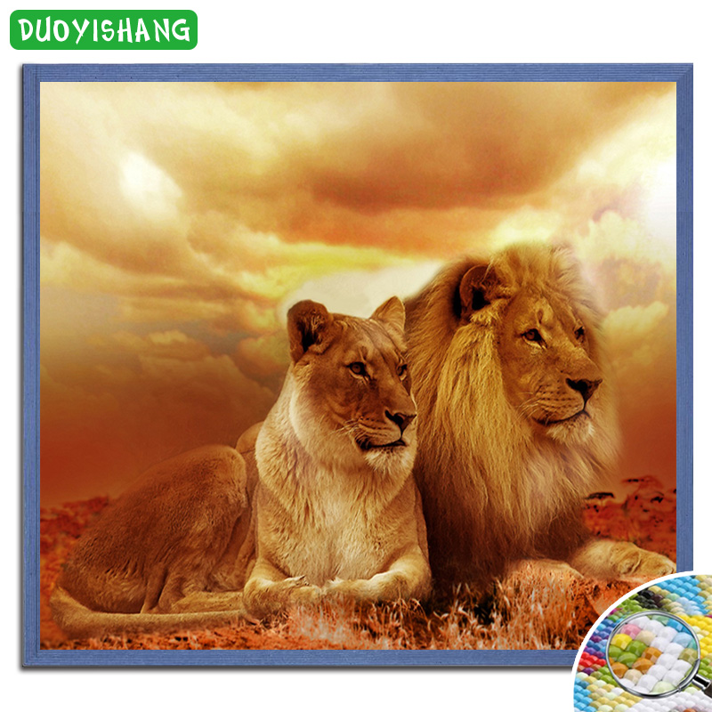 DUOYISHANG Male Lion and Lioness Diamond Painting Cross Stitch Full Diamond Embroidery Couple Lions Rhinestones Picture Handwork in Diamond Painting Cross Stitch from Home Garden