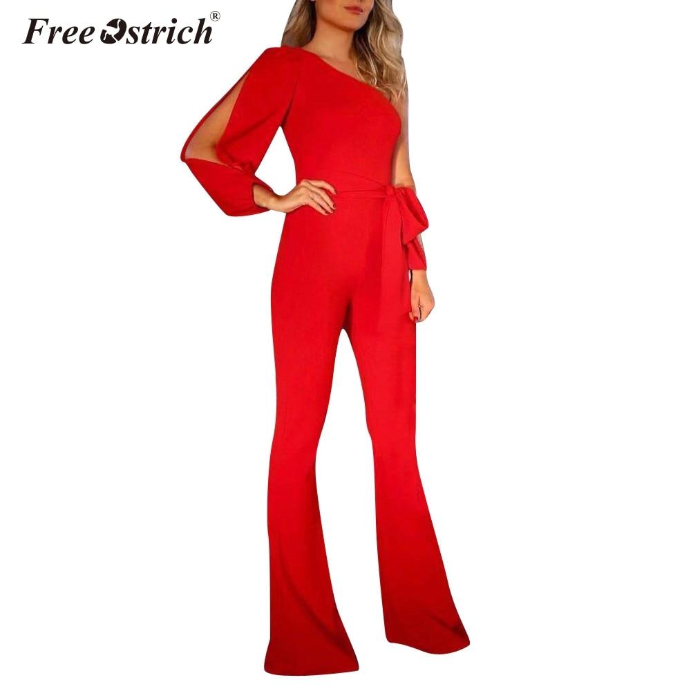 Free Ostrich Jumpsuits for Women Black Elegant White Wide Leg Pants Jumpsuit Clubwear 2020 Summer Fashion N30