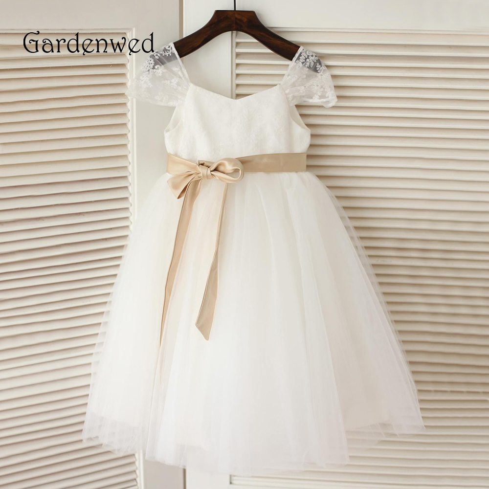 Gardenwed 2019   Flower     Girl     Dresses   Lace Ivory   Girls   Kids   Dress   for Wedding Party Summer First Communion   Dresses   Pageant Gowns