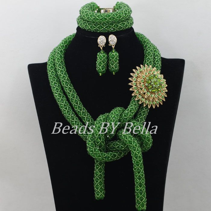 African Green Beads Jewelry Set Braid Nigerian Wedding Beads Crystal Necklace 2017 Hot Bridal Jewelry Sets Free Shipping ABF338