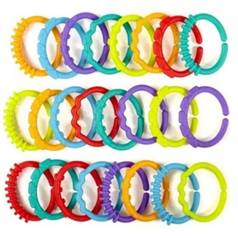 24Pcs/set Baby Infant Teether Toy Rattle Colorful Molars Rings Crib Bed Toy ...