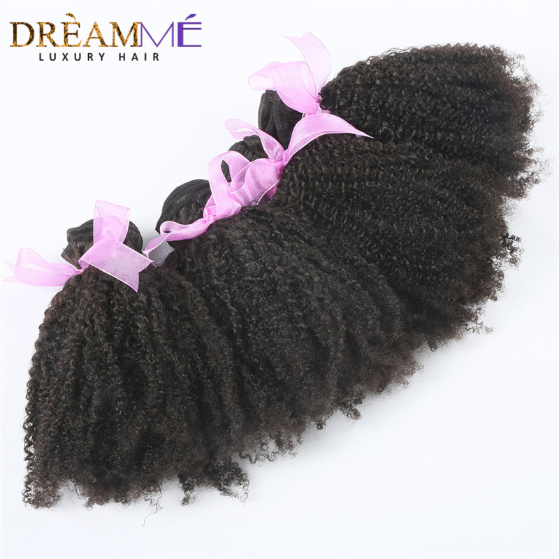 Brazilian Afro Kinky Curly Hair 3 Bundles 4B 4C Natural Black 1B Color 100 Human Hair