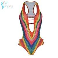 SESEASUN 2017 New Women Swimwears Bikinis Set Bandage Swimsuit triangle bikini bodysuit women printing brazilian bikini set XL