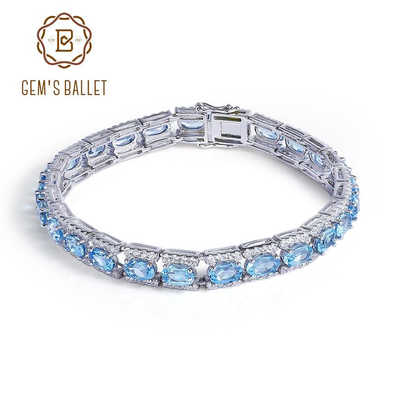 GEM S BALLET 925 Sterling Silver Bracelets Bangles Fine Jewelry Natural Blue Topaz Bracelet pulseras plata