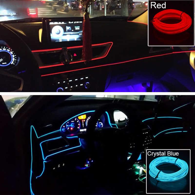 3 м/5 м светодиодные ленты для автомобиля декоративная лента 12 В Гибкая неоновая электрическая проволока веревка внутренний универсальный внутренний СВЕТОДИОДНЫЙ Автомобильный свет полосы для автомобиля Авто