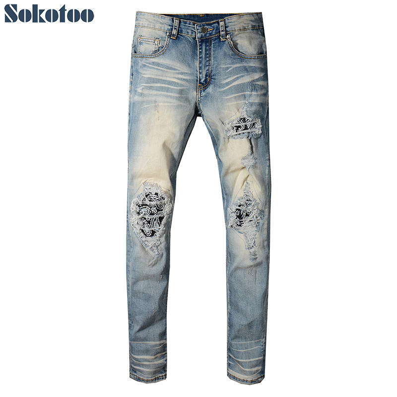 Men's Bandana Crystal Vintage Blue Jeans Slim Fit Skinny Floral Printed Ripped Stretch Denim Pants
