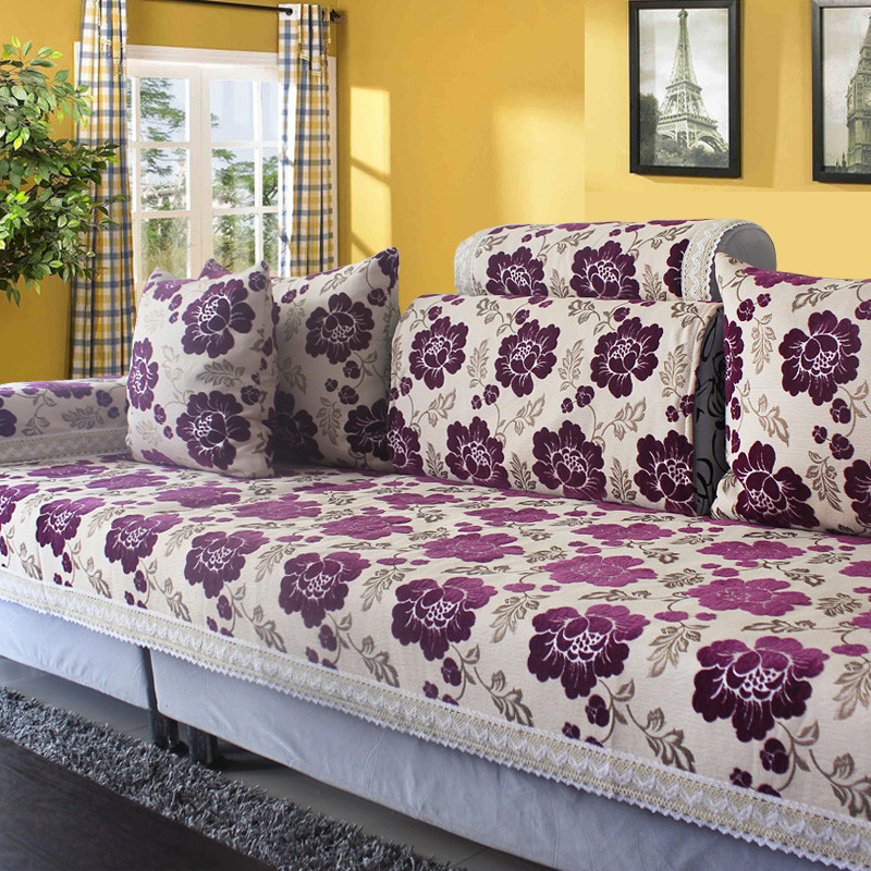 Chenille Sectional Cover On Couch Jacquard Flocked Sofa Cover Combination  Kit Floral Settee Mat Furniture Covers Canape Cushion In Sofa Cover From  Home ...