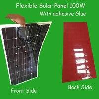 Top Vendendo Cola Adesiva preço painel solar flexível Painel Solar 100 w da fábrica varejo 12 V carregador de bateria solar 12v solar battery charger 12v solar flexible solar -