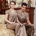 Chinese satin Pyjamas Couple pajama sets short sleeve pijamas women's sleep& lounge female homwear faux silk lady's sleepwear