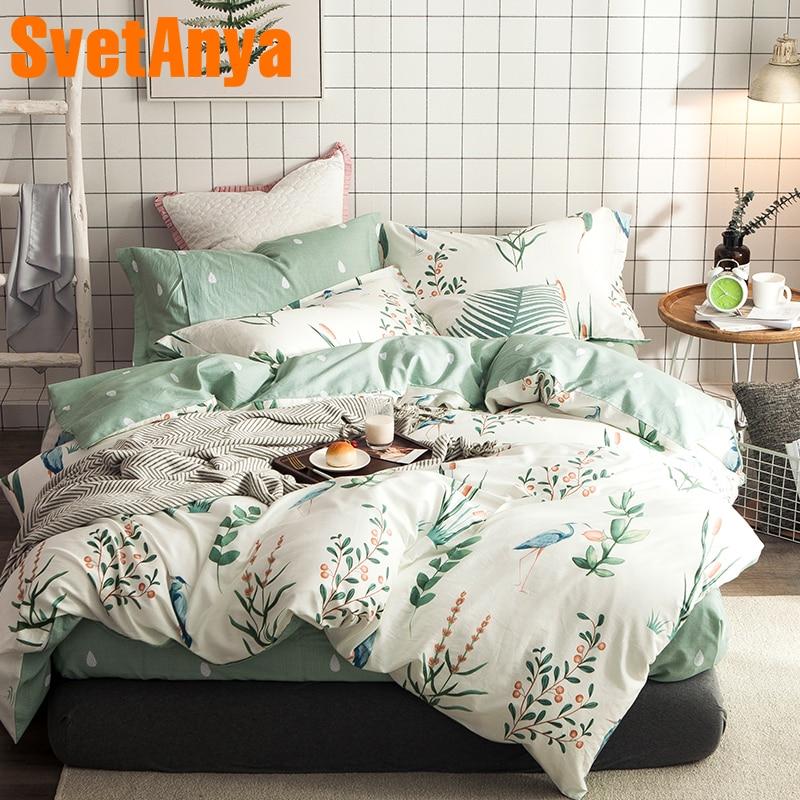 Svetanya Cotton Bedding Sets Twin Full Queen Size Bedlinen flat Bedsheet Pillowcase and Duvet Cover Set