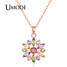 UMODE 2019 New Round Colorful Zircon Geometric Flower Pendant Necklaces for Women Fashion Rose Gold Link Chains Jewelry AUN0369