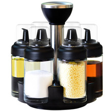 Condiment Set Pepper And Salt Cruet Plastic Kitchen Spice Rack With Jar Seasoning Box,Kitchen Utensils Seasonin 7Pcs