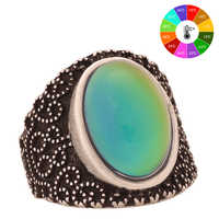 Mojo Vintage Bohemia Retro Color Change Mood Ring Emotion Feeling Changeable Ring Temperature Control Ring for Women MJ-RS005