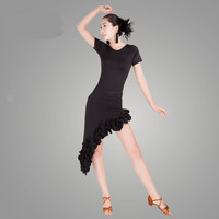 Ballroom Dress Latin Short Sleeve Black Latin Dance Top Skirt Salsa Samba Tango Cha Ballroom Competition