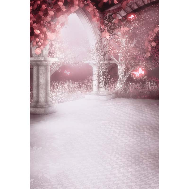 Custom vinyl cloth pink butterfly fairy land forest door photo backgrounds for newborn stage photography studio backdrop F-1729 custom vinyl cloth broken wall photo