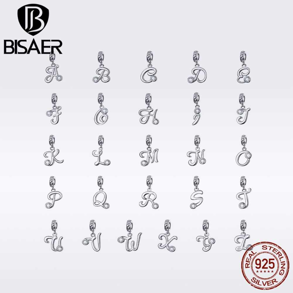 BISAER NEW 925 Sterling Silver 26 Letters Charms A-Z Alphabet Pendants Initial Bracelet Necklace For DIY Jewelry Making GXC1183