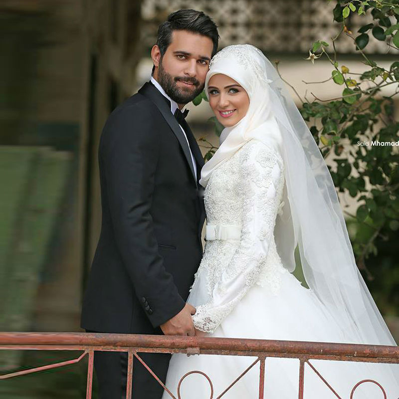 Arab Long Sleeve Muslim Wedding Dress Gowns 2016 casamento Noiva ...