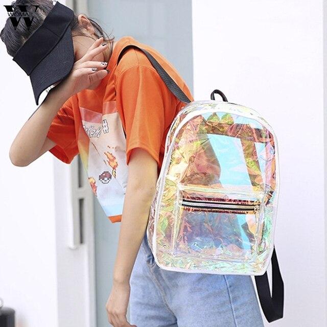 New Large Capacity Backpack for Women Transparent Jelly Bag Travel Backpacks Female School Bag Student Bag For Girls Mochilas 1