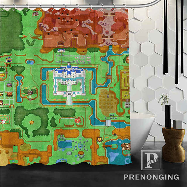 Personalized Custom The Legend Of Zelda Map Shower Curtain Home Decor Bathing Curtains Cloth Waterproof Polyester