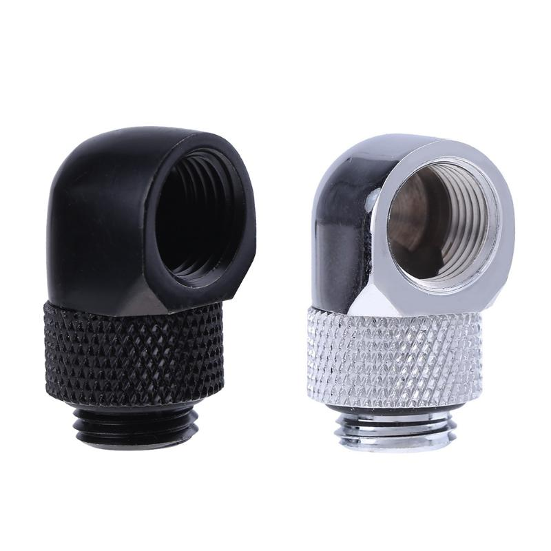 PC Water Cooling Tube Adapter G1/4 Inner Outer Dual Thread 90 Degree Rotary Water Tube Connector Adapter Black Silver 2 Colors barrow g1 4 x 2 double head hard tube 90 d multi link adapter 12mm 14mm black silver white gold twt90kns k12 twt90kns k14