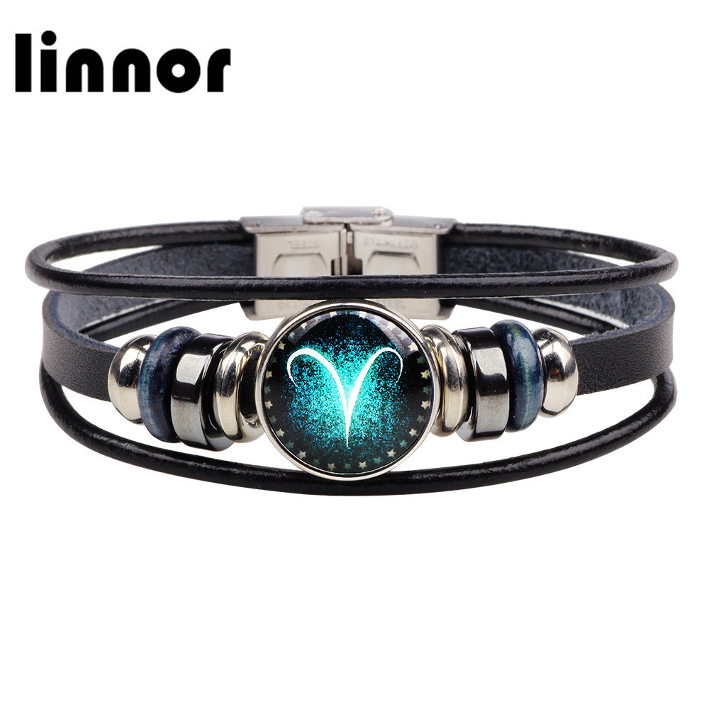 Bracelets & Bangles Jewelry & Accessories Linnor Fashion Charm Aries/taurus/virgo/libra/capricon 12 Zodiac Leather Bracelet Alloy Buckle Snap 12 Constellation Bracelets