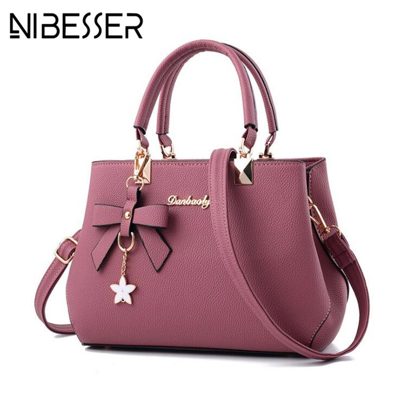 NIBESSER 2018 Elegant Shoulder Bag Women Designer Luxury <font><b>Handbags</b></font> Women Bags <font><b>Plum</b></font> Bow Sweet Messenger Crossbody Bag for Women