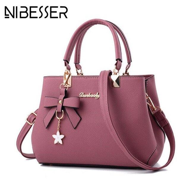 NIBESSER 2018 элегантная сумка Для женщин Роскошные Дизайнерские Сумки Для женщин сумки сливы лук сладкий Crossbody сумка для Для женщин