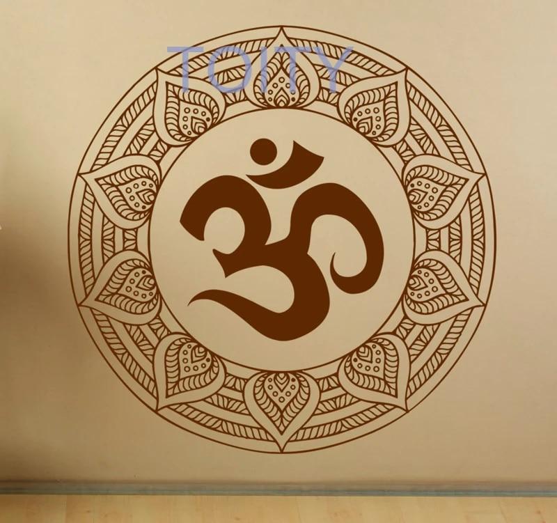 Mandala Wall Decal Om Symbol Indian Pattern Vinyl Stickers Namaste Yoga Home Interior Design Art Murals Bedroom Decor 17ml01a