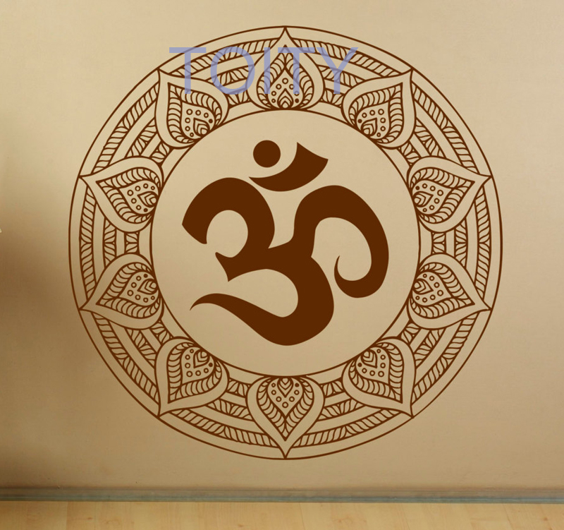 Mandala Wall Decal Om Symbol Indian Pattern Vinyl Stickers Namaste Yoga Home Interior Design Art Murals Bedroom Decor