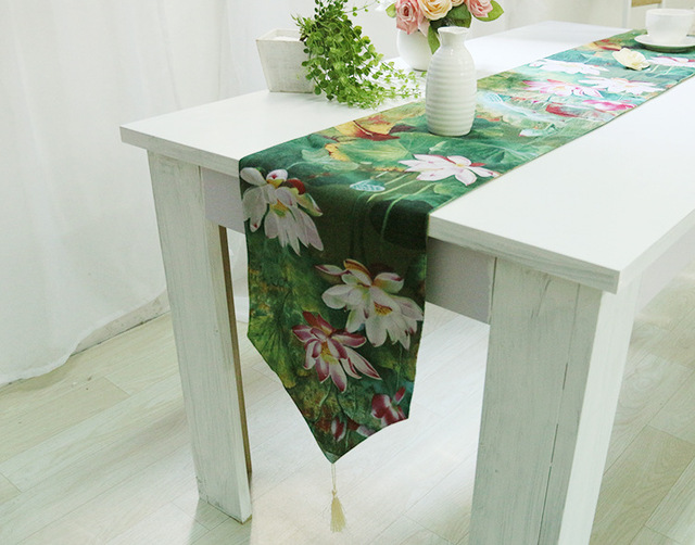 Modern Table runner Lotus Print Wedding Hotel Banquet Party Home ...