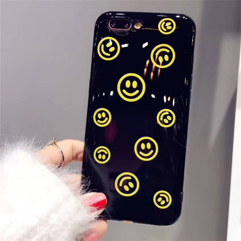 Shining Plating Cute Smile Phone Case For iPhone 6 6s 7 8 Glossy Soft TPU Back Cover For iPhone X 8 PLus 7 plus 6 s Fundas